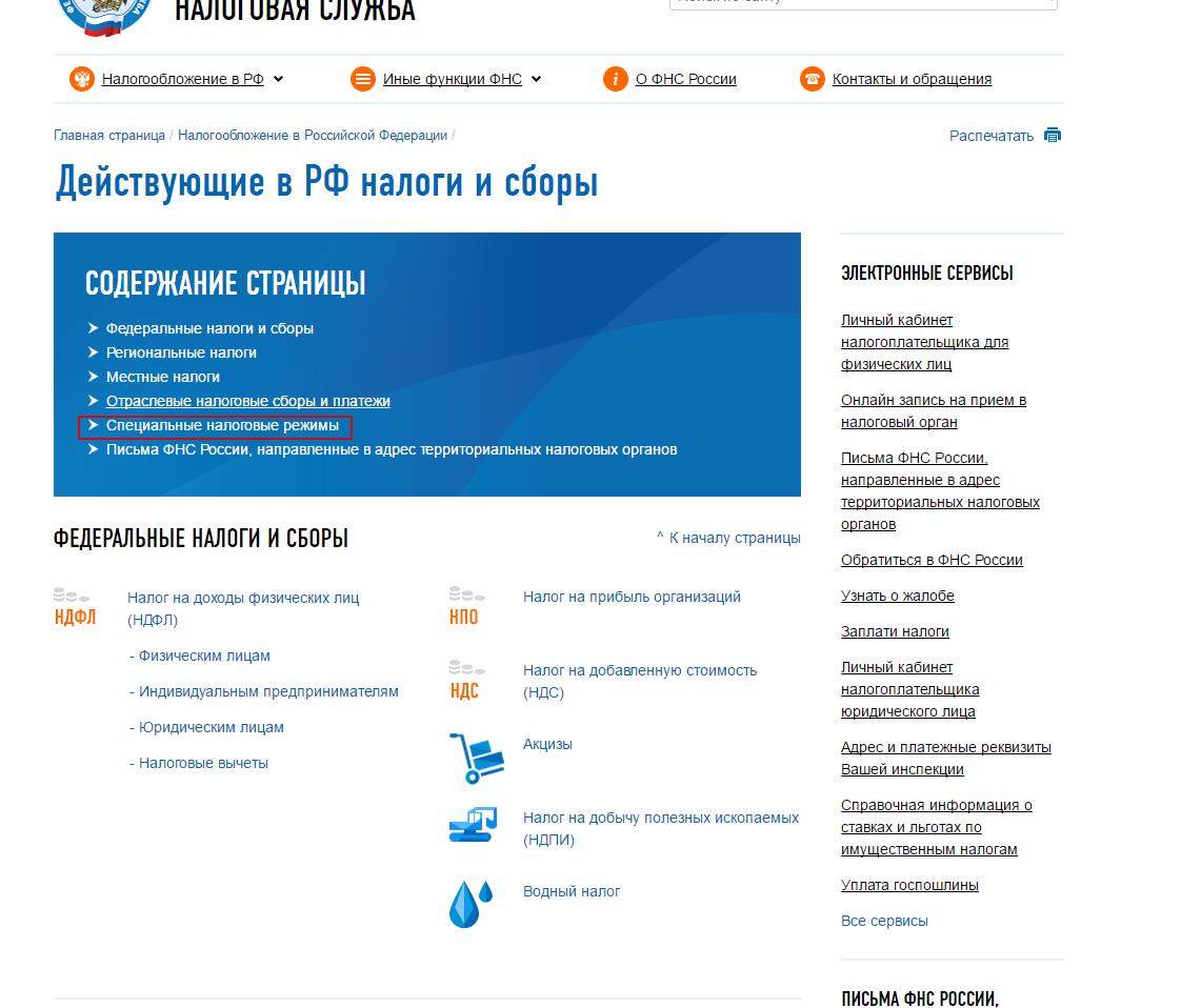 Специальные налоговые режимы в РФ