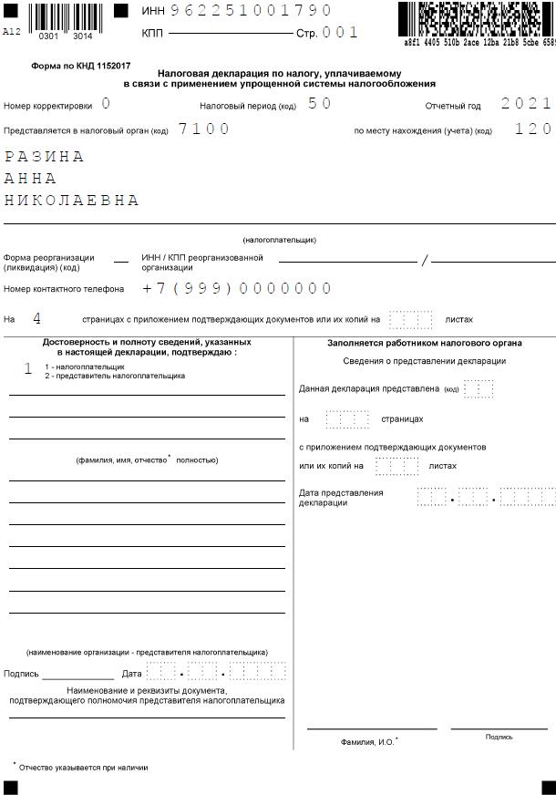 Образец декларации по УСН при закрытии ИП, 1 страница