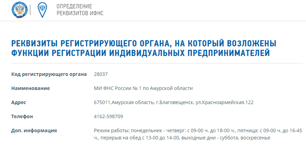Регистрация ИП в МФЦ, определение реквизитов ИФНС