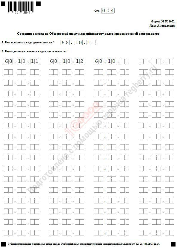 Образец заполнения листа А формы Р21001 для ИП, гражданина РФ